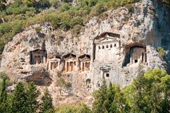 Turkish  Lycian tombs  - ancient necropolis Stock Image