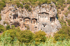 Turkish  Lycian tombs  - ancient necropolis in the mountains Stock Images