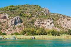 Turkish  Lycian tombs on the Dalyan River Royalty Free Stock Images