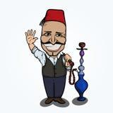 Turkish man with hookah waving hand. Hand drawn illustration. EPS10 vector Stock Image
