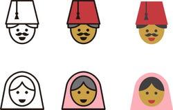 TURKISH man and woman icons Stock Image