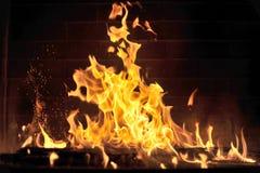 Turkish mangal barbecue. Close up of blazing fire in Turkish mangal barbecue Royalty Free Stock Image