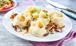 Turkish mantini pasta filled with spicy lamb stock photos
