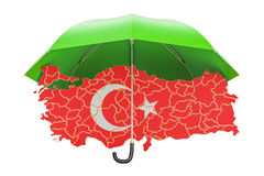 Turkish map under umbrella. Security and protect or insurance co Royalty Free Stock Images
