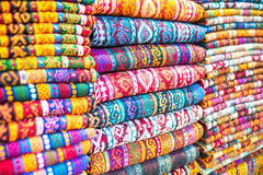 The Turkish market. Textiles and Clothing at the bazaar. The Turkish market Stock Image