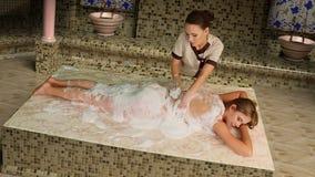 Turkish massage in hammam stock footage