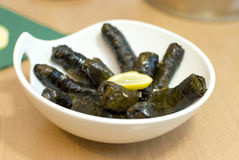 Turkish meal, stuffed grape leaves, rice and spice Stock Images