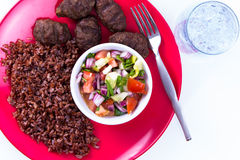 Turkish Meat Balls Kofte with Red Pilaf Stock Photos