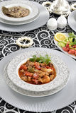 Turkish meat stew with french fries and tomatoes Stock Images