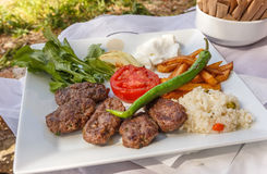 Turkish meatballs and garnish Royalty Free Stock Photo