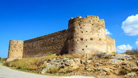Turkish medieval fortress at Ancient Aptera in Crete Royalty Free Stock Image