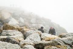 Turkish men in the fog in Istanbul, Turkey Royalty Free Stock Photo