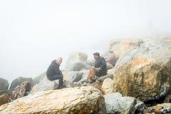 Turkish men in the fog in Istanbul, Turkey Stock Image