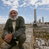 Turkish Men at Historic Ruins of the City of Perga Stock Photos