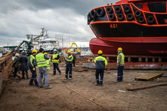 Turkish men working in dock Royalty Free Stock Image