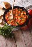 Turkish Menemen fried with vegetables close-up vertical Stock Images