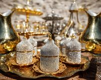 Turkish metal coffee cups Stock Photos
