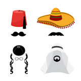 Turkish, mexican, arabic and jewish hats Stock Photos