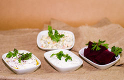 Turkish meze tapas appetizer. This is called meze traditional turkish appetizers for dinners and turkish drink rak Royalty Free Stock Images