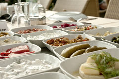 Turkish mezze. A typical Turkish dinner starters in side dishes Royalty Free Stock Images