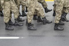 Turkish military parade. In outdoor stock image