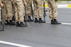Turkish military parade. In outdoor royalty free stock photos