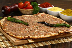 Turkish minced pide. Turkish pide with minced and spices royalty free stock photography