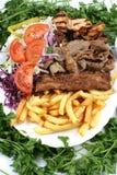 Turkish Mix kebab and salad. Fast Food Image Turkish Mix Kebab and salad Stock Photo