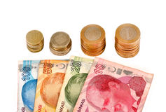 Turkish money and coins Royalty Free Stock Image
