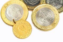 Turkish Money. Turkish Gold Coin. 1/4 Cumhuriyet, isolated on white background Royalty Free Stock Photo