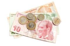 Turkish money isolated on white  background Royalty Free Stock Images