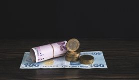 Turkish Money Paper And Coins Stock Photo royalty free stock photography