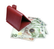 Turkish money and wallet Stock Images