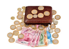 Turkish money and wallet on white background Stock Images