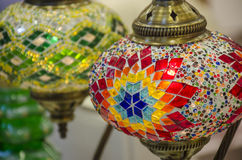 Turkish mosaic lamps. Turkish lamps, made of colored glass mosaic and metal Royalty Free Stock Photography