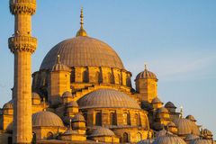 Turkish mosque domes at sunset Stock Image