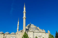 Turkish mosque with high minaret Royalty Free Stock Photography