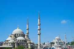 Turkish mosque with high minarets Royalty Free Stock Images