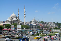 Turkish mosque with high minarets in Istanbul, Turkey Royalty Free Stock Photography