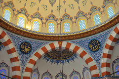 Turkish mosque interior design. The picture shows the colourful interior design of a Turkish mosque which was constructed in Tokyo Japan after the Turkish Stock Photo