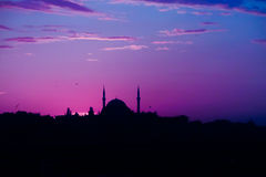 Turkish mosque in Istanbul at sunset Royalty Free Stock Photo