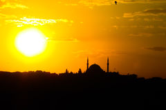 Turkish mosque silhouette Royalty Free Stock Photography