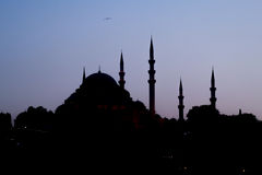 Turkish mosque silhouette Royalty Free Stock Photo