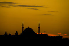 Turkish mosque silhouette Royalty Free Stock Photos