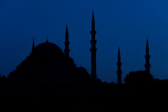 Turkish mosque silhouette of minarets Stock Images