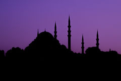 Turkish mosque silhouette of minarets Royalty Free Stock Photos
