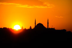 Turkish mosque silhouette at sunset Royalty Free Stock Photos