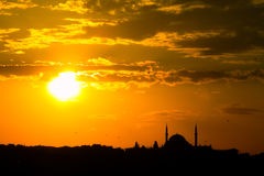 Turkish mosque at sunset Stock Photography