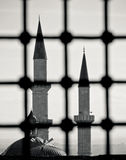 Turkish Mosque view from outside the window Stock Photo