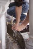 Turkish Muslim Man washing Feet Royalty Free Stock Images